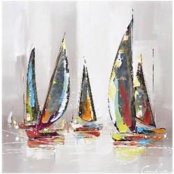 Tableaux peinture contemporaine voiliers 80 x 80 cm