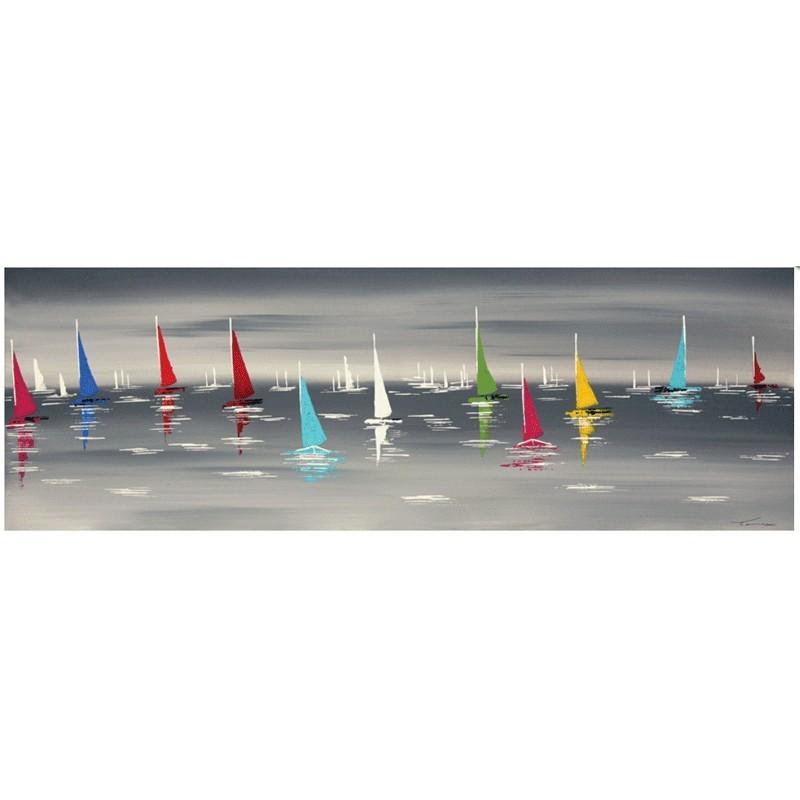 Tableau contemporain de peinture mer bateaux tableau 40x120 - Peinture sur toile triptyque ...