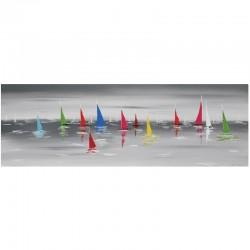 Tableau peinture contemporaine voiliers 40x120