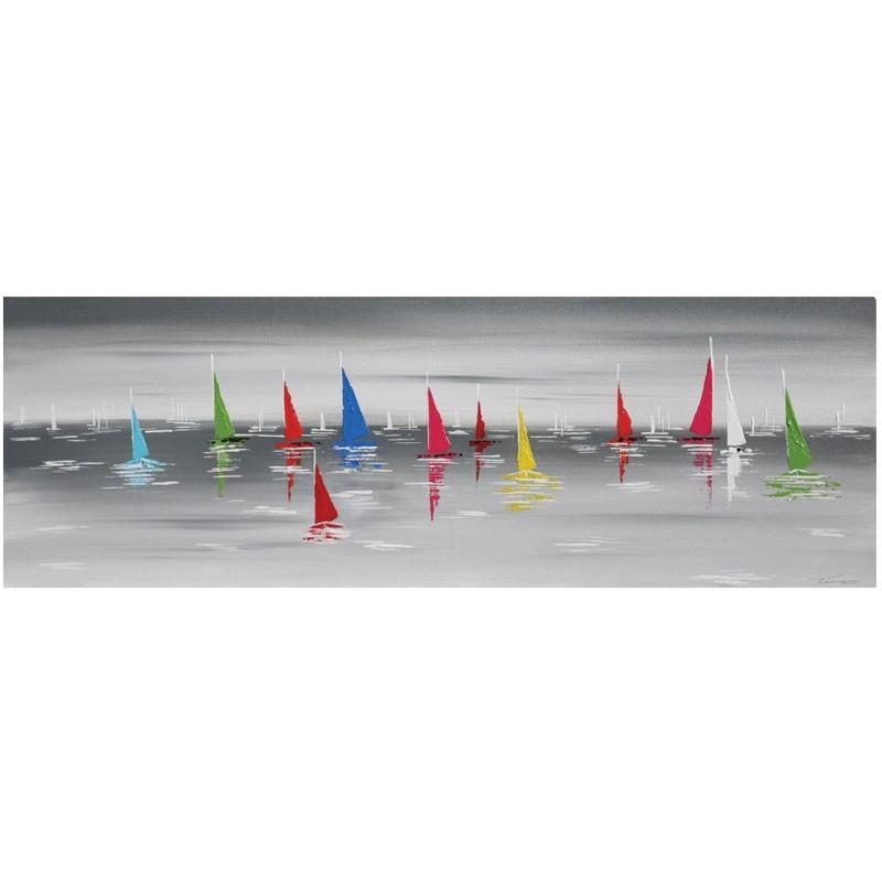 Tableau contemporain de peinture paysage mer bateaux toile peinte 40x120 - Comment faire un tableau contemporain ...