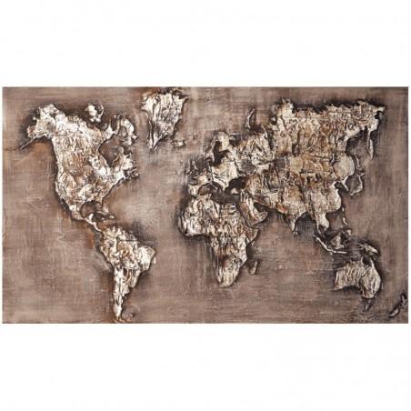 Tableau contemporain mappemonde 70x120