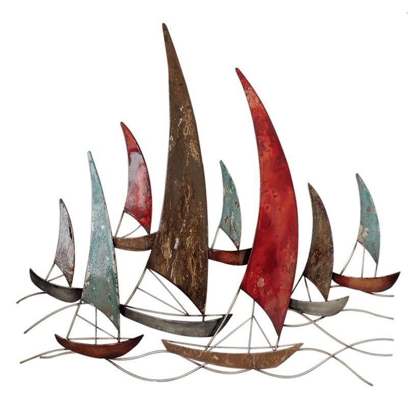 decoration murale m tal bateaux voiliers en fer sculpture originale. Black Bedroom Furniture Sets. Home Design Ideas