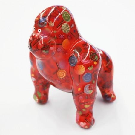 Tirelire design originale gorille rouge tatoué sucettes