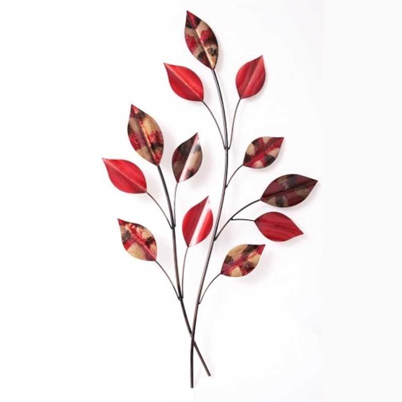 Decoration métal murale branches feuilles rouges