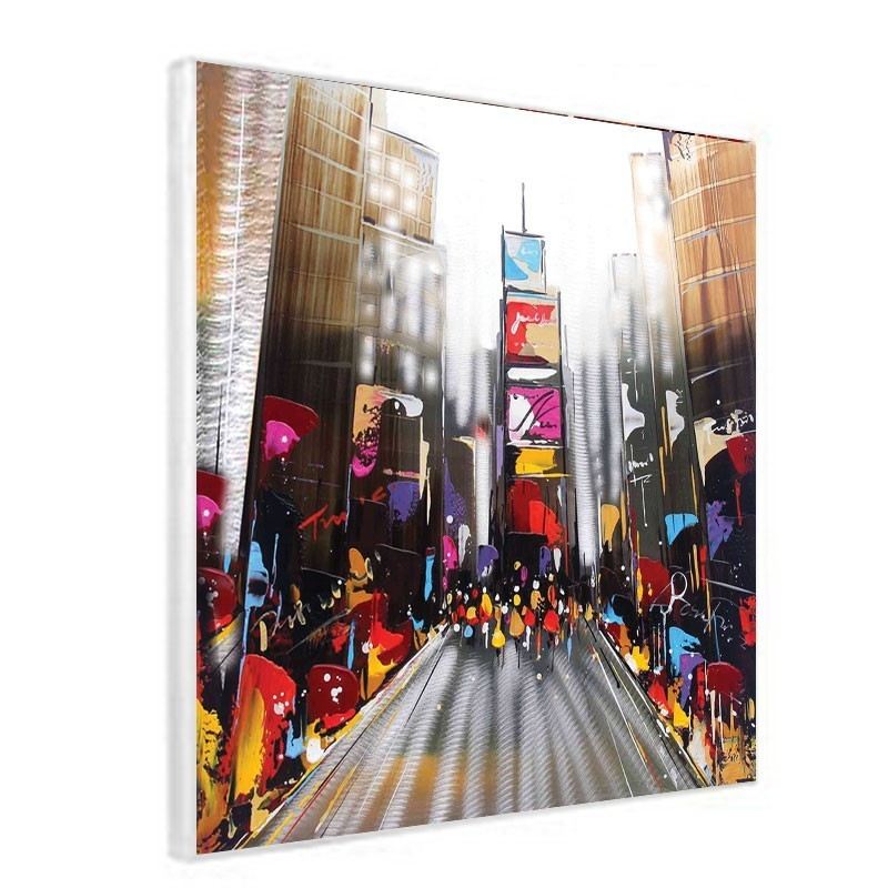 tableau contemporain 60x60 urbain new york avec effet alu bross. Black Bedroom Furniture Sets. Home Design Ideas