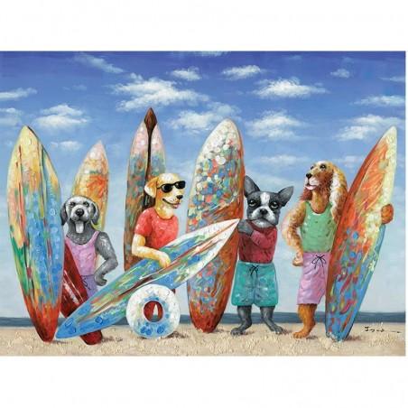 Tableau contemporain chiens SURF