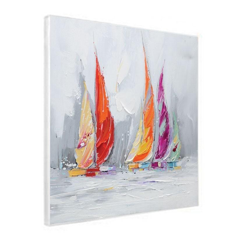 Tableau contemporain mer et voiliers violet orang 60x60 - Tableaux mer et plage ...