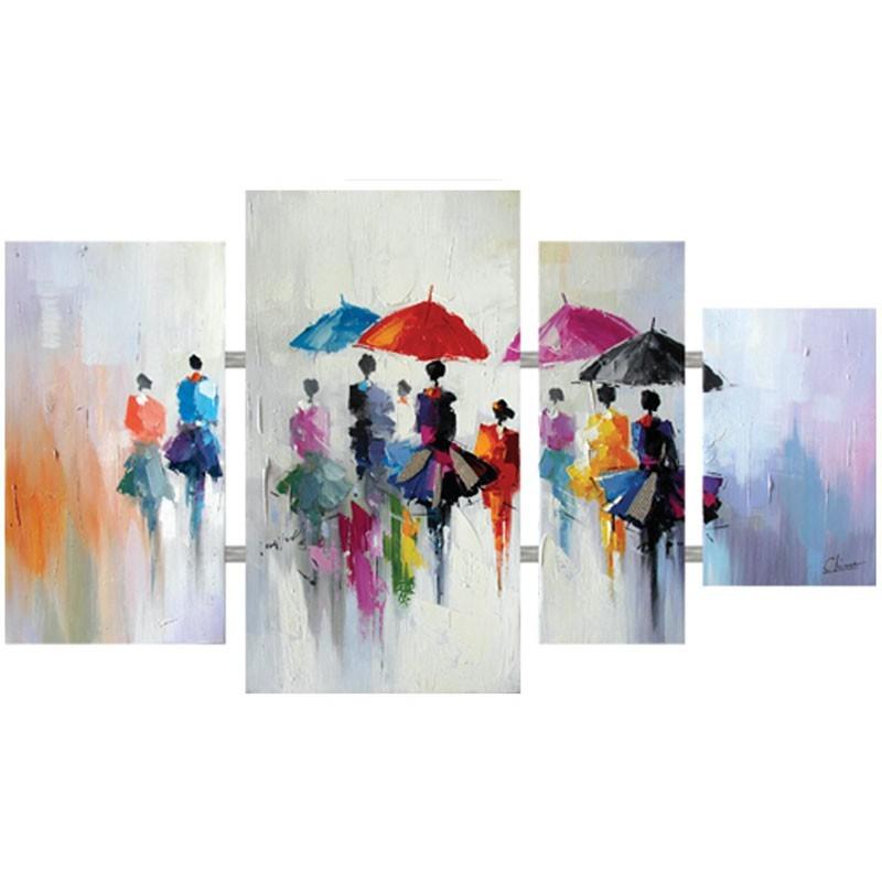 Tableaux Triptyque -Tableau Contemporain 4 Parties Multicolore Urbain