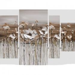 Tableau tripyque 4 parties, fleurs des champs 80x109