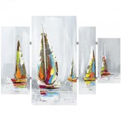 Tableau triptyque régate multicolore 80x109