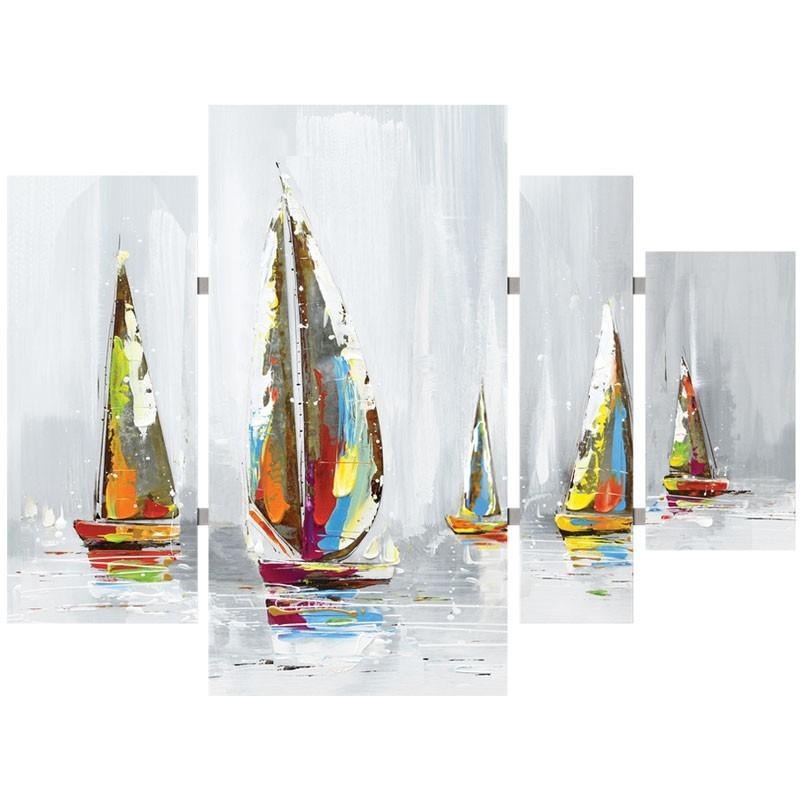 Tableaux Triptyques Voiliers Brume Multicolores-Tableau