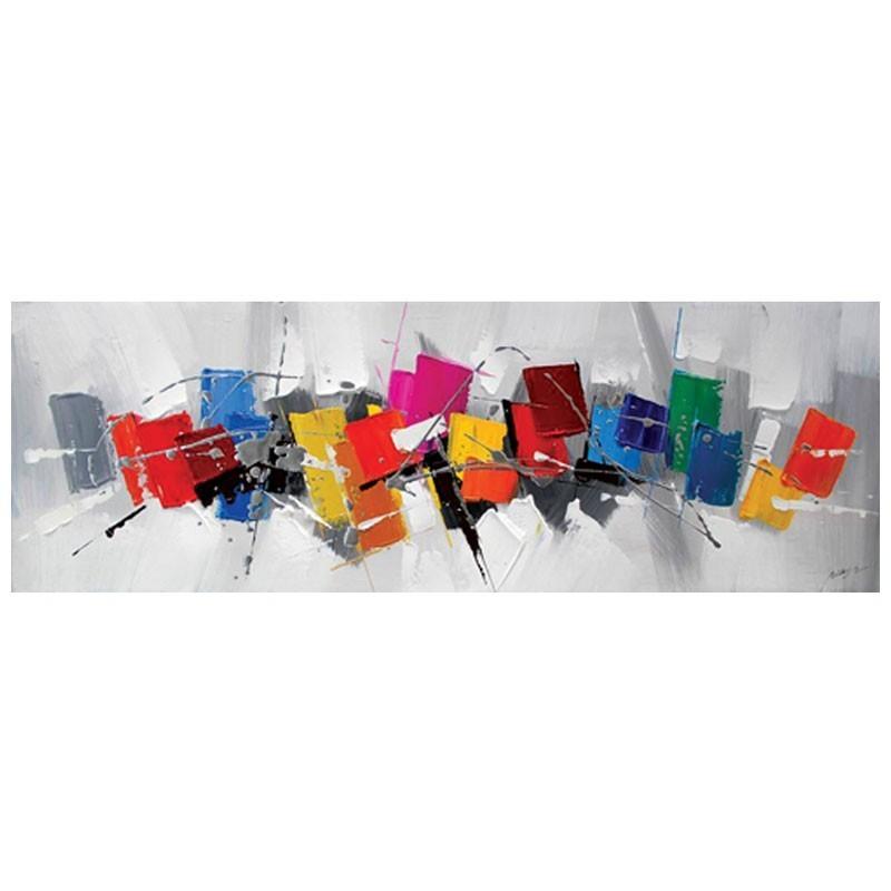 Tableau contemporain 50x150 tableau de peinture abstraite - Tableaux tryptiques contemporains ...