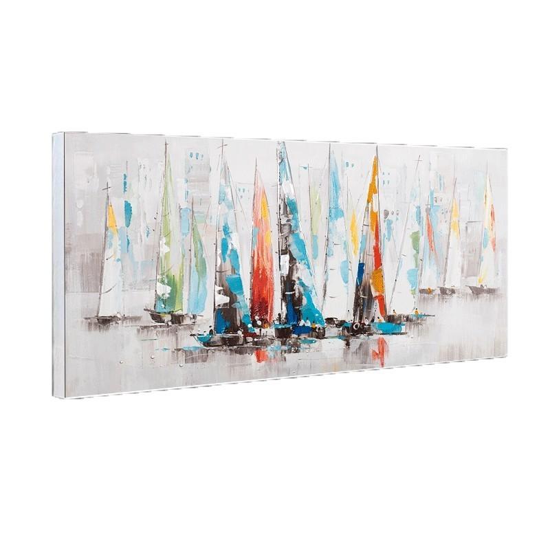 Tableau contemporain voiliers multicolores 70x140 for Tableau contemporain