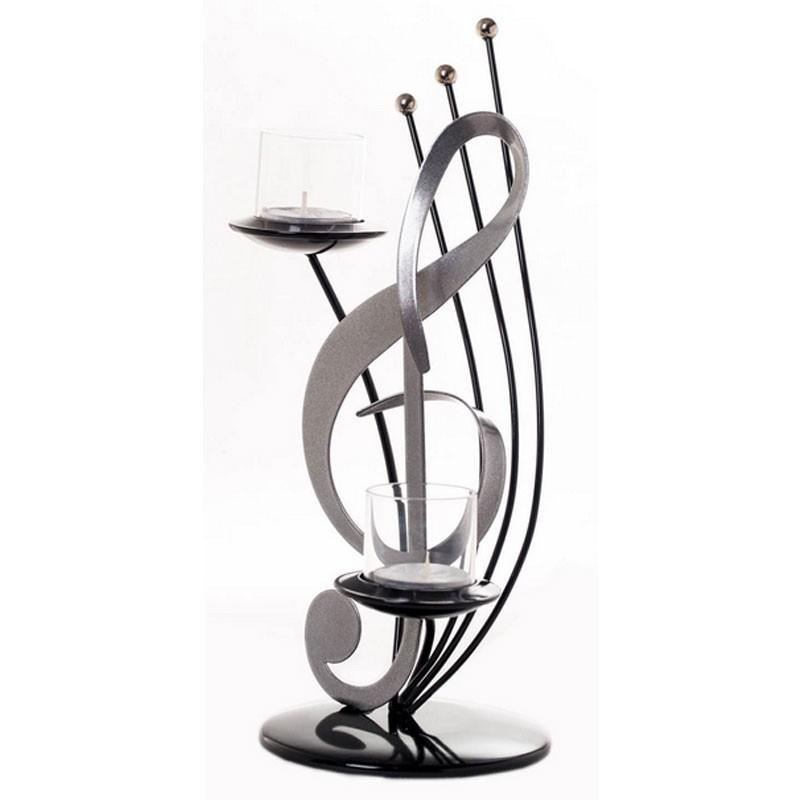 Sculpture métal bougeoir Clé de sol argent et noir