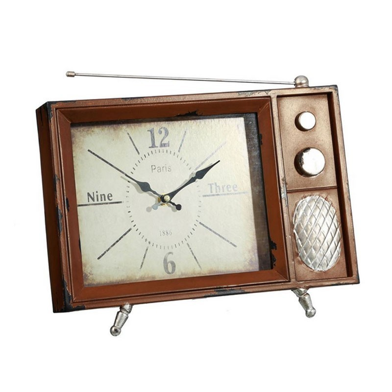 horloge vintage m tal televesion poser marron et argent. Black Bedroom Furniture Sets. Home Design Ideas