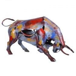 Sculpture Taureau métal pigment