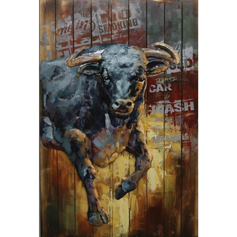 tableau contemporain bois et m tal taureau 80x120 en. Black Bedroom Furniture Sets. Home Design Ideas
