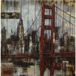 Tableau métal et bois GOLDEN GATE SAN FRANCISCO