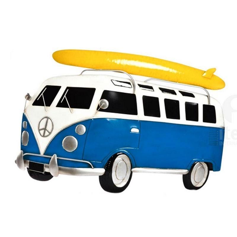 decoration murale m tal van combi bleu avec planche de surf jaune. Black Bedroom Furniture Sets. Home Design Ideas