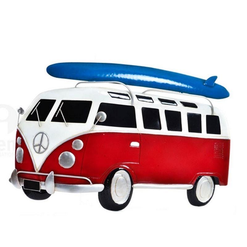 Decoration murale m tal van combi rouge avec planche de surf bleu - Deco van de gang ...