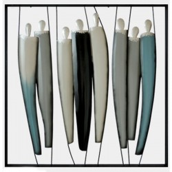 Déco murale métal Personnages Design gris et bleu