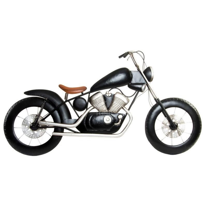 decoration murale m tal moto roadster noir et argent. Black Bedroom Furniture Sets. Home Design Ideas