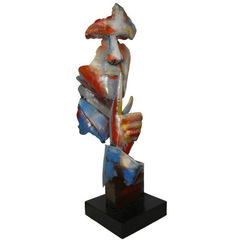 """ Visage CHUT "",sculpture design métal ""pigment"""