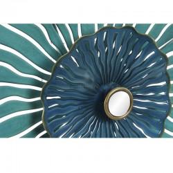 Déco murale métal, Feuilles ajourées bleues