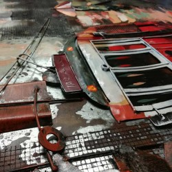 """""""Tramway rouge """", Tableau métal vintage 3D, 100 X 100."""