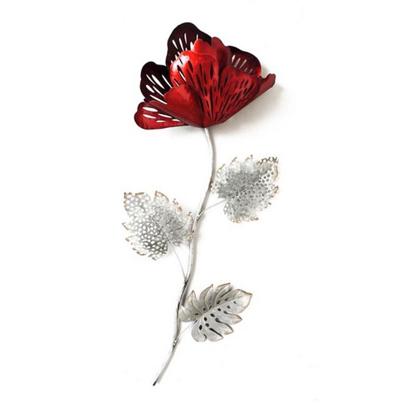 d coration murale m tal fleur rouge et grise pour un. Black Bedroom Furniture Sets. Home Design Ideas