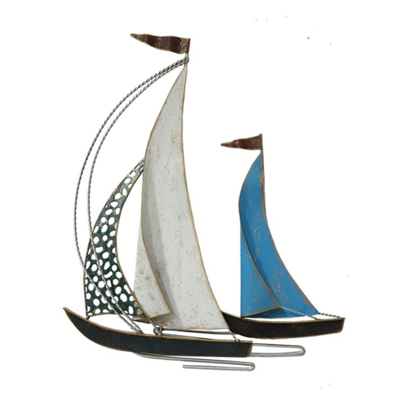 """""""Voiliers bleu/blanc"""", déco murale métal marin"""