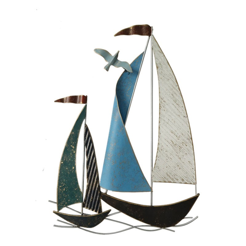 """""""deux Voiliers et mouette """" déco murale métal marin"""