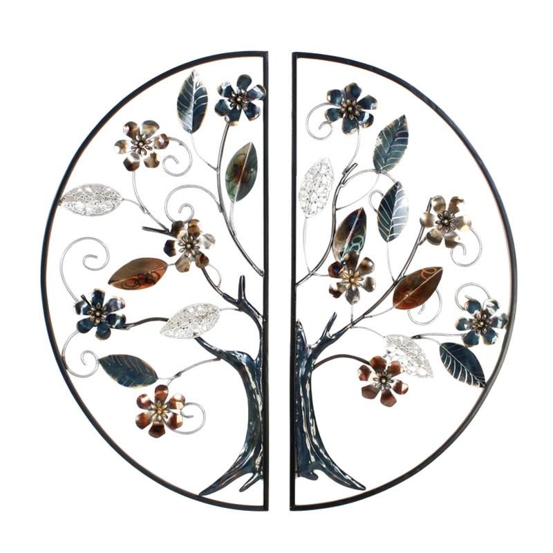 """"""" Arbre fleuri en demi cercle """", décoration murale métal"""