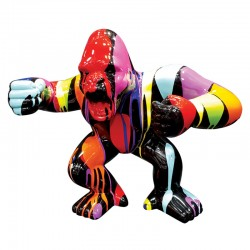 Sculpture contemporaine GORILLE MULTICOLORE 65CM