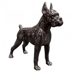 CHIEN BOXER noir, 47 cm, sculpture et statue design