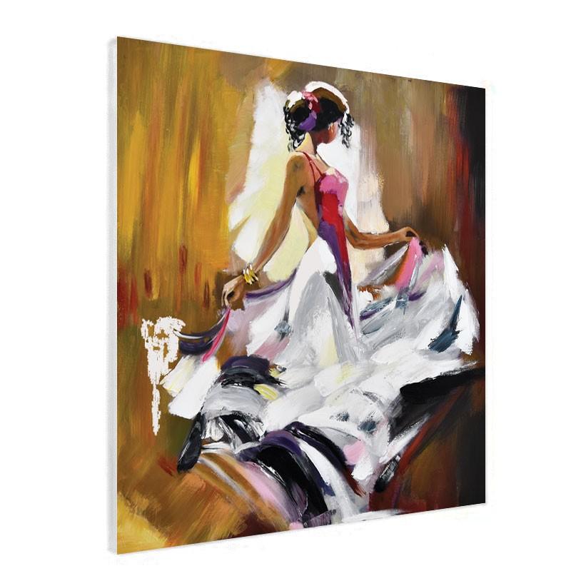 Tableau Contemporain Danseuse Flamenco 80x80cm Ocre Blanc Et Mauve