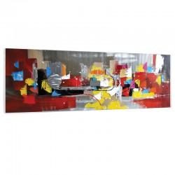 """"""" Couleurs exprimées """" Tableau contemporain abstrait, 50x150 cm."""