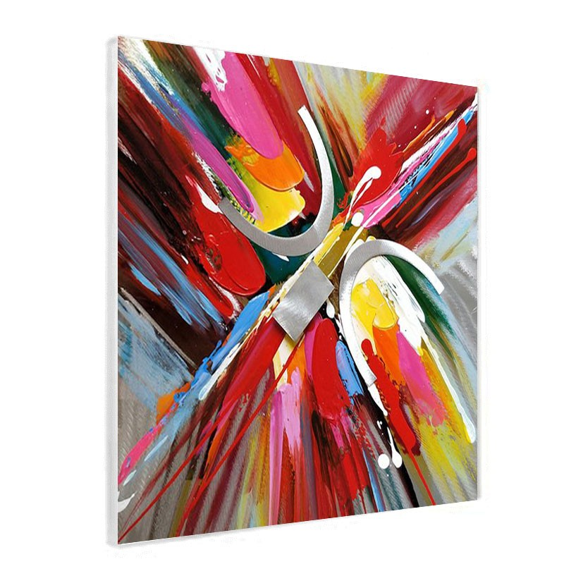 """Tableau contemporain """"abstrait sur alu """", 80x80 cm."""