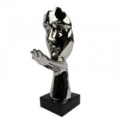 """""""Visage Souffle d'espoir chromé """" , statuette design"""