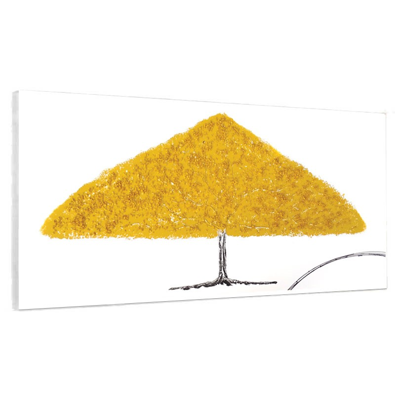 Tableau contemporain ARBRE jaune, 70x140 cm.