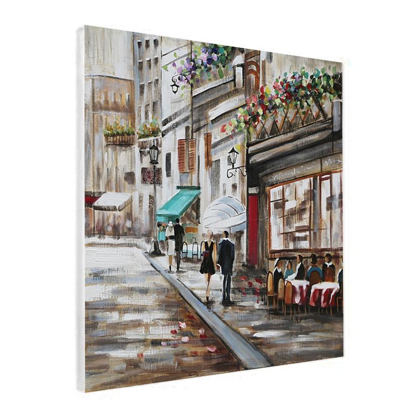 """"""" Couple en ville """", Tableau contemporain urbain, 60x60"""