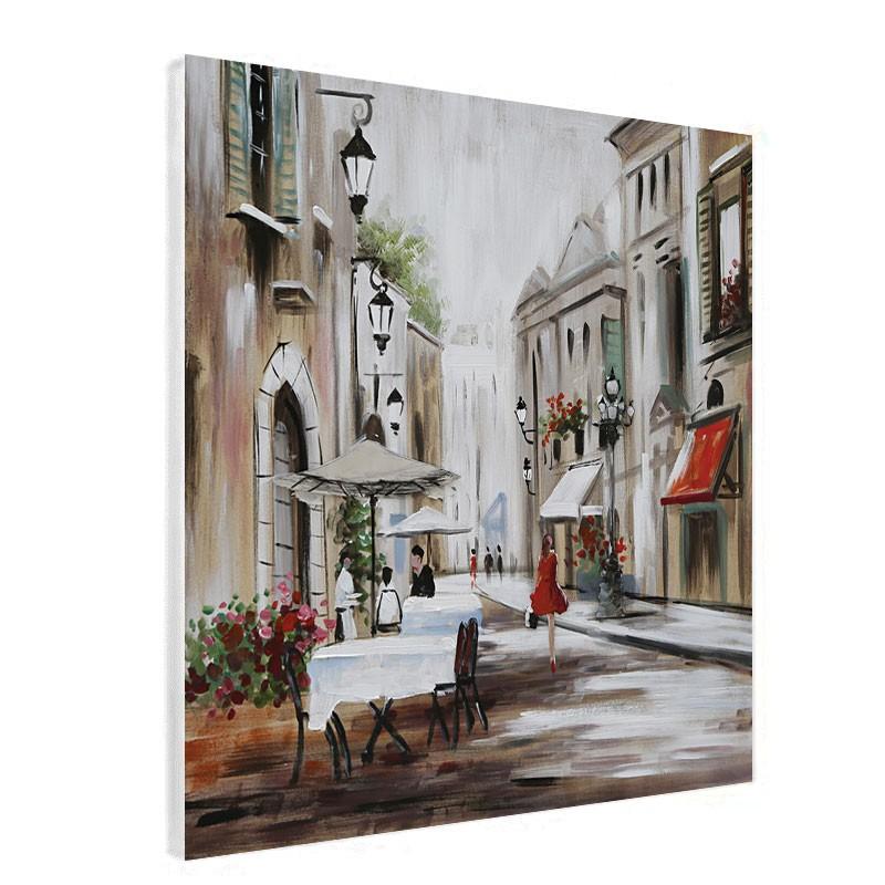 """Tableau contemporain """" Flânerie en ville """", 60x60"""