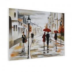 """"""" Ballade sous la pluie """", Tableau contemporain urbain, 60x80"""