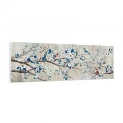 """"""" branche et oiseaux """", Tableau contemporain floral, 40x120"""