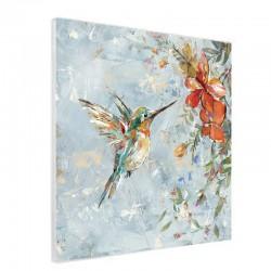""""""" Martin pêcheur et fleurs """", Tableau contemporain nature"""