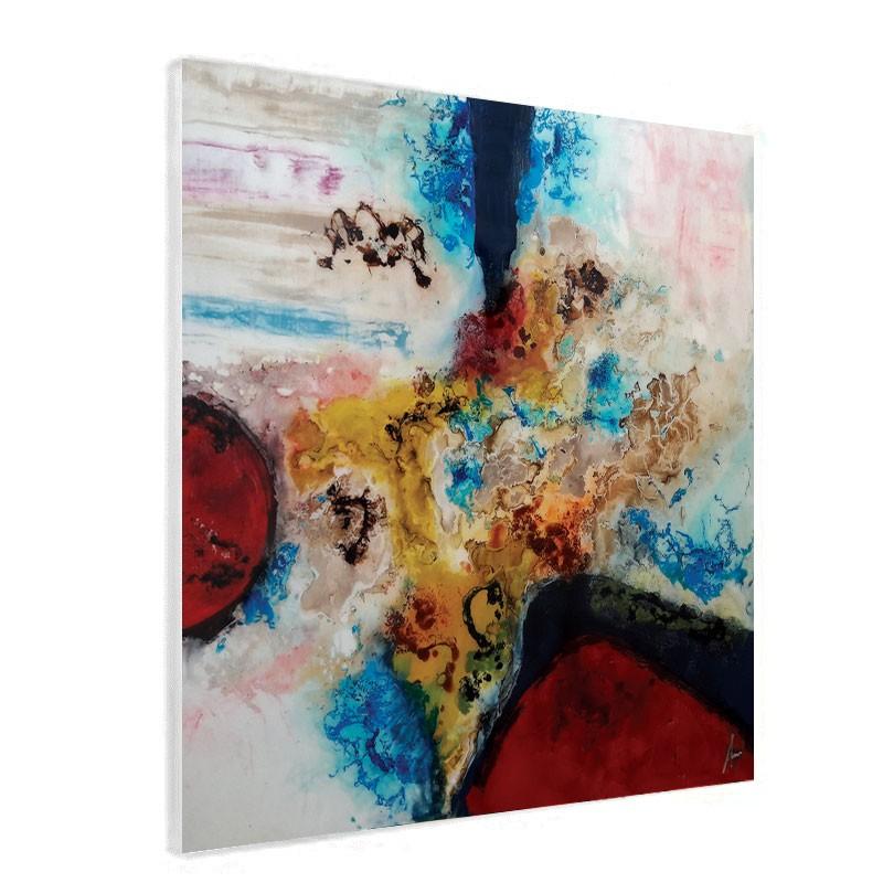 """"""" Tourbillon de couleurs 2 """", tableau contemporain abstrait 80x80 cm"""