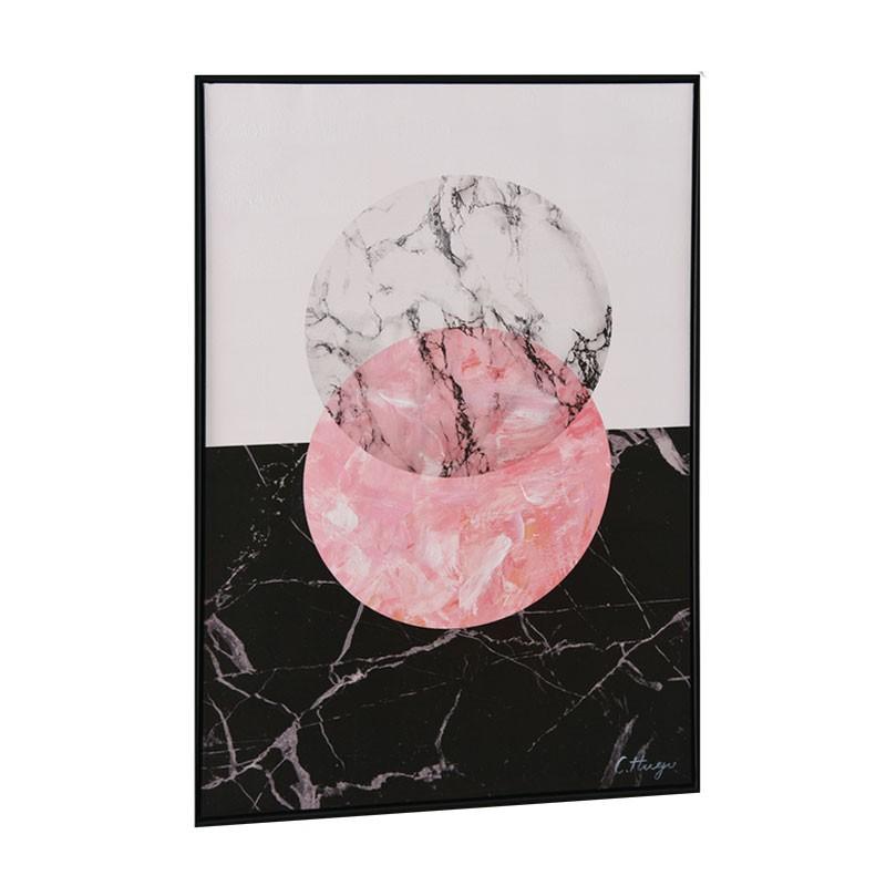 """"""" Cercle marbré rose """", Tableau contemporain design, 60x90"""