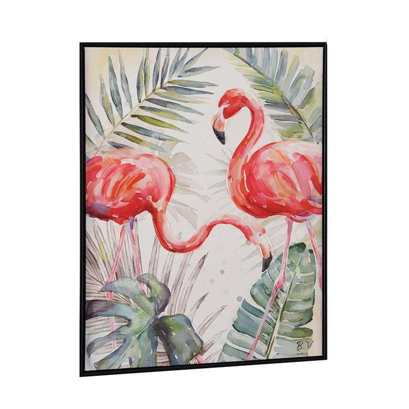 """"""" Flamants roses 1 """", Tableau contemporain nature, 60x80"""