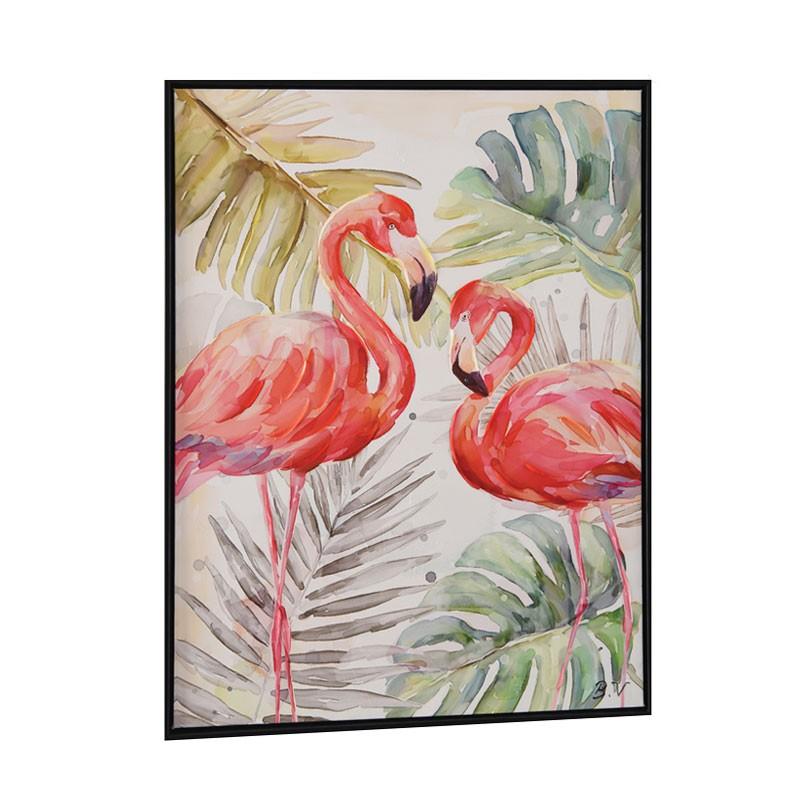 """Tableau contemporain """" Flamants roses 2 """", 60x80"""