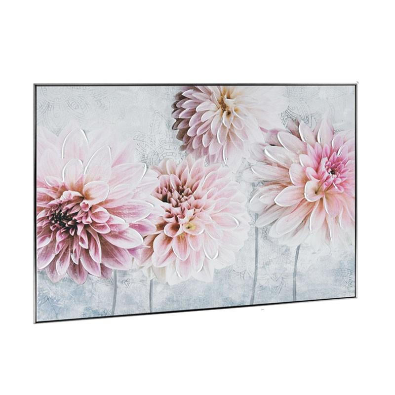 """"""" Dahlias roses """", Tableau contemporain floral,60x80"""